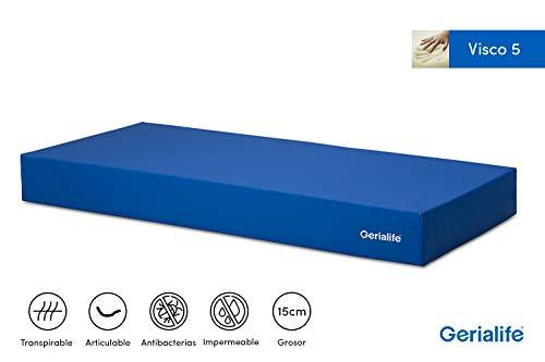 Gerialife® Colchón Geriátrico Hospitalario Articulado | 5 cm de Viscoelástica | Funda Sanitaria Impermeable (90x190)