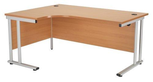 Cheap Left Hand Crescent Desk 1600mm, Ergonomic Desk in Beech – Smart Office Furniture Range Discount
