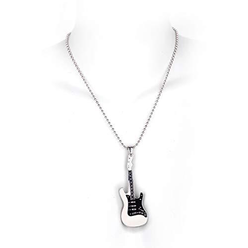 MB-Müller 81252-002-000 - Cadena de metal con colgante para guitarra, color blanco y negro