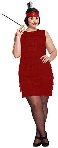 Damen Sexy Rot 1920s Charleston-mädchen Tanz Great Gatsby Kostüm Kleid Outfit STD &Übergröße - Rot, Übergröße EU (Flapper Kostüm Tanz Mädchen)
