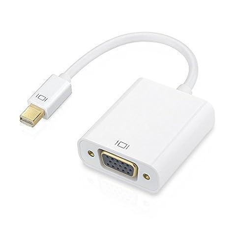 Patuoxun 1080p Thunderbolt Mini Displayport vers adaptateur VGA haute qualité pour Mac/MacBook Pro/Air/iMac surface pro 1/2/3, Thinkpad X1/Carbon/Touch/Helix