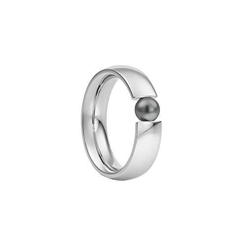 Heideman Ring Damen Globus aus Edelstahl Silber farbend poliert Damenring für Frauen mit Swarovski Perle Weiss oder farbig 5mm rund als Spannring Black Gr.59 hr2006-3-16-59