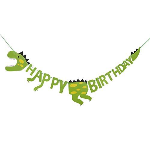 HONGXIN-SHOP Partybanner Happy Birthday Banner Dinosaurier Bunting für Kinder Geburtstag Party Dino Thema
