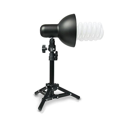 PICARD 200 Watt Foto-Lampe 1x Foto-ESL + 1x Tisch-Foto-Stativ | Foto-Licht / Foto-Beleuchtung inklusive 1x Schnellstart-Tageslichtlampe (5500 K) mit 200 Watt Äquivalenzleistung und 1x Tisch-Foto-Stativ ()