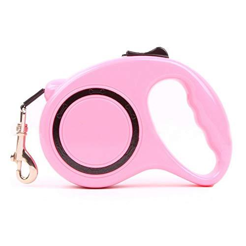 JYMDH Retractable Hund Blei Erweiterbare Haustier Hund Blei Nylon Leine Für Wander Hund Bis Mit Einem Knopfverschluss-System,Pink,3M