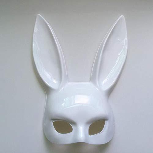 TINGTING Kaninchen Mask Masquerade Bunny Ohrmaske Bunny Maske Halloween Bunny Maske Party / 38 * 18cm,White-B