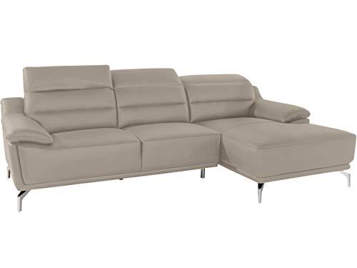 Loft 24 A/S Ecksofa Sofa Polsterecke inklusive Rückenverstellung Eckcouch Couch L-Form Schlafsofa Polstergarnitur 269 x 154 x 100 cm (beigegrau, Natur Leder, rechts)