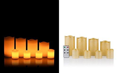 8er Set LED Echt Wachs Kerzen mit Timer Funktion und Fernbedienung - sehr hochwertige Verarbeitung - mit flackernder warmweißer LED - 4 Stumpen Kerzen und 4 Votiv Kerzen (gold metallic)