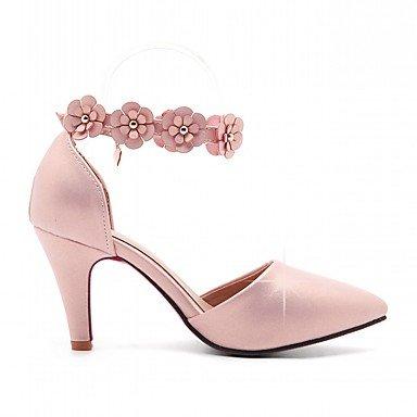 Talloni delle donne Primavera Autunno Dress Comfort in similpelle ufficio & carriera Stiletto Heel Casual Buckle Fiore Nero Oro Rosa Bianco Verde Pink