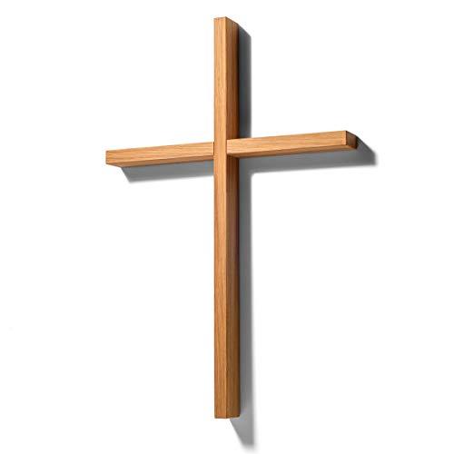 corpus delicti :: Holzkreuz modern und schlicht - Wandkreuz aus Eiche massiv (33 x 22 x 2,4 cm) - Kreuz für die Wand oder die Hand - Kruzifix für Puristen
