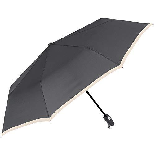 Perletti ombrello donna uomo pieghevole grigio leggero apri e chiudi automatico - ombrello portatile mini compatto antivento da viaggio da borsa resistente fibra di vetro tinta unita