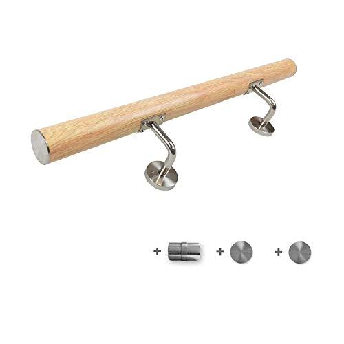 AUFUN Handlauf Geländer Edelstahl Treppengeländer mit Metalldübeln Wandhandlauf Holzmaserung Farbe Wandhalter für handlauf edelstahl aussen, Balkon, Brüstung - 100cm mit Rohrverbinder