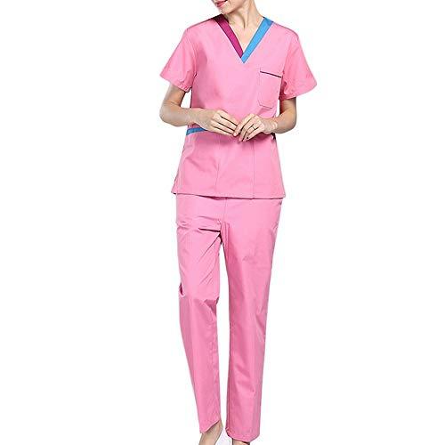 ZHUXIANSHENG Medizinischer Einheitlicher Weiblicher Kurzarmkrankenschwesteruniformsatz,S - Medizinische Einheitliche
