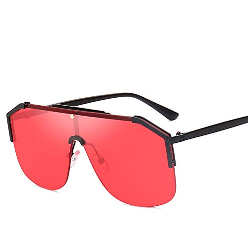 HQMGLASSES 2019 Männer Aviator One-Piece-Objektiv Sonnenbrille Flat-Top-Metallrahmen Übergroße Retro-Punk-Stil Frauen Sonnenbrille UV400,BlackFrame/RedLens