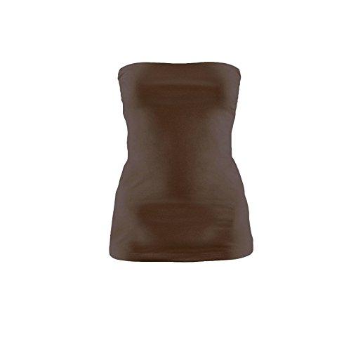 Toocool - Top maglia maglietta donna tube tubo bustino bustier corpetto jersey CC-442 Marrone