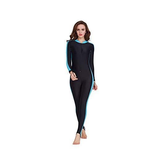 Damen Tauchen Schnorcheln Badeanzug Große Größen Siamese Patchwork Jumpsuit Coole Sonnencreme Schwimmen Surfen Overall Baseball-Kragen Bademode, Blau, XXX-Large