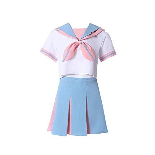 Schule Kurzarm Uniform Cosplay Kostüm Outfit Hemd Rock (Süßes Paar Halloween Outfits)