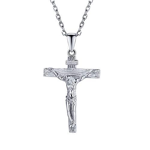 U7 Kruzifix Halskette Damen 925 Sterlingsilber Kette und Kreuz Anhänger Weißgold überzogen katholischen religiösen Schmuck für Mädchen Geschenk Jahrestag Weihnachten