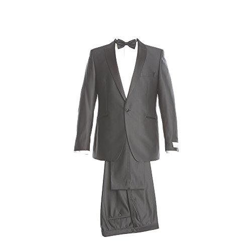 WILVORST Smoking Anzug Sakko und Hose Schalkragen Slim Line Taillierter Schnitt Schwarz 100% Schurwolle IWS Fresco 260g 50