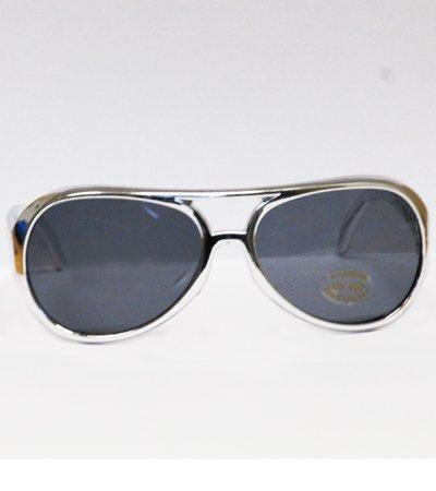 Silber Elvis Brille (Brille silber schwarz Rock Roll Elvis Las Vegas Rockstar Schlagerparty)
