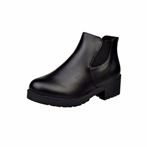 Zapatos de mujer Botas cortas de mujer Botas Martin para mujer Botines Mujer Cuero Bajo talón Plano Negro Casual Zapatos LMMVP (39, Negro)