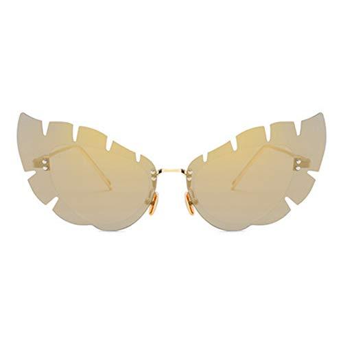 Liuao Unregelmäßige linse randlose Sonnenbrille Neue Butterfly-förmige cat Eye Sonnenbrille Mode Damen Metall Sonnenbrille,Style 2