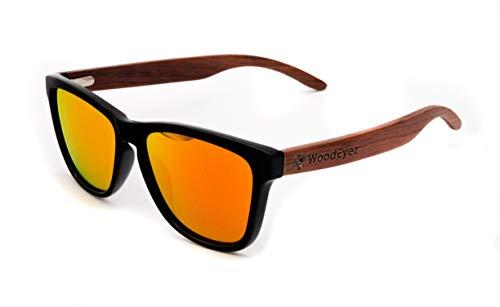 WoodEyez - DIE Holz-Sonnenbrille - unisex - UV 400 Cat 3 - Polfilter - Holzbügel - hochwertige Federscharniere - Echtholz (Rot)