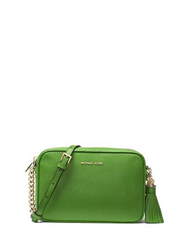 Michael Kors Ginny Medium Leather Camera Crossbody Bag - True Green