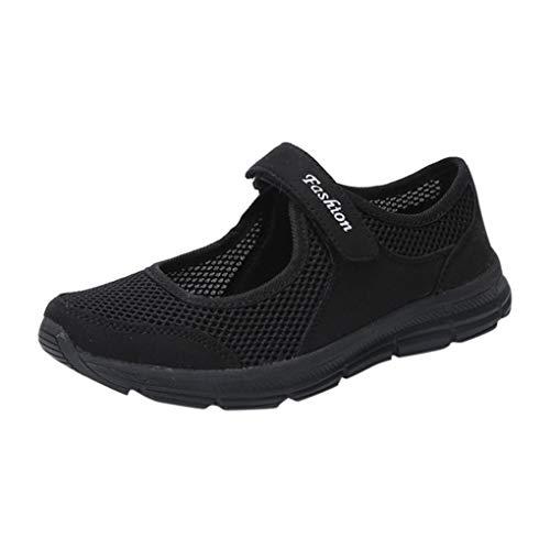 VJGOAL Damen Freizeitschuhe, Damen Mode Soft Anti Slip Klett Sandalen Casual Fitness Laufsport Sommer Falt Schuhe Mutterschaftsschuhe (Schwarz, 40 EU)