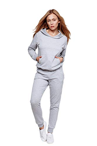 Sensis Trendiger Damen Trainingsanzug/Hausanzug/Wellnessanzug/Streetwear-Set mit stylischem Sweatpulli BZW. Sweatjacke und bequemer Hose, Hellgrau lang, Gr. S (36)