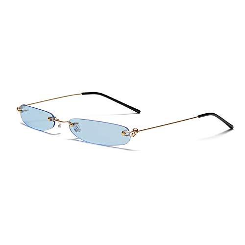 XZANTE Randlose Rechteck Sonnenbrille M?nner Frauen 90S Designer Winzige Schmale Rahmenlose T?Nung Sonnenbrille Shades Gold Rahmen Blaues Stück