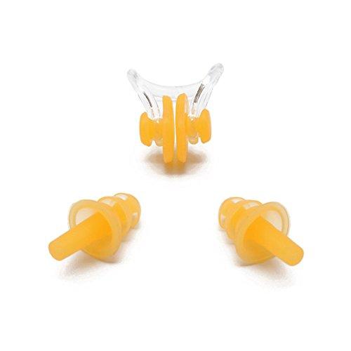EASE Wasserdicht Schwimmen Silikon Kordel Ohrstöpsel Nasenklammer Schwimmen und Nase Clip Set Ohr Stecker, gelb