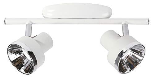 Sulion Cinecita Regleta 2 Focos LED, 8 W, Blanco/Cromo