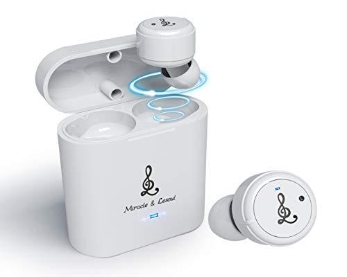 Bluetooth Kopfhörer Kabellos, Miracle & Lesoul S7 Bluetooth 5.0 Earbuds In Ear mit Mikrofon, CVC 6.0, 36-Stunden-Spielzeit mit.IPX7 wasserdichte Wireless Kopfhörer für Sport, Fitnessstudio-Weiß