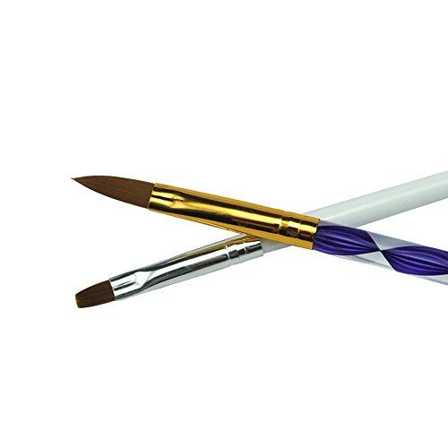 Mode Galerie 1 Blanc Gel UV Brosse 1 Pinceau Acrylique Nail Art Peinture Dessin Brush Set outils à ongles brosses