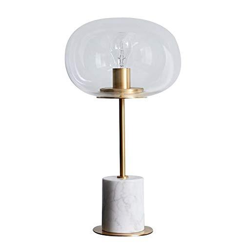 Lampes de table en fer simple, mode LED boule de verre ronde éclairage bureau lumière moderne chambre salon hôtel lampe de table en marbre, noir, blanc (Color : White)