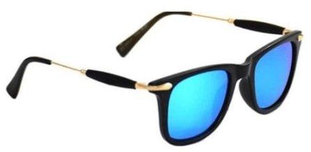 Discount Offer On UV Protected Stylish Golden Black Rubber Stick Blue Mercury Square Wayfarer Sunglasses for Men Women Boys & Girls (Golden Black Stick Blue Mercury Square Wayfarer Sunglass ) - 1 Sung