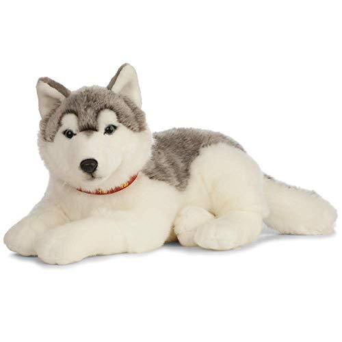 Living Nature Soft Toy - Großes Stofftier Husky , grau und weiß (60cm)