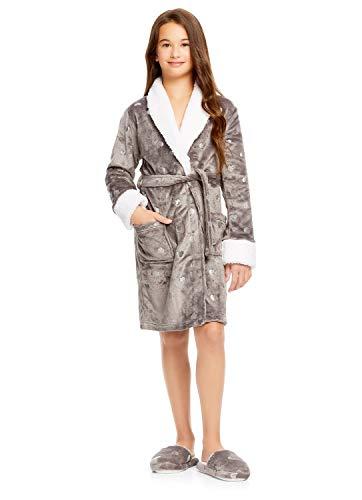 7962dbf88b1c0f Jellifish Kids Plüsch Nachtwäsche und Hausschuhe Set - Bademantel für  Mädchen L Heart Grey