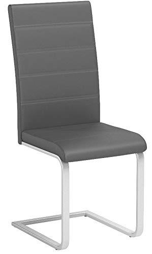 TecTake Esszimmerstühle Schwingstuhl Set | Kunstleder - Diverse Farben - (2er Set grau | Nr. 402551)