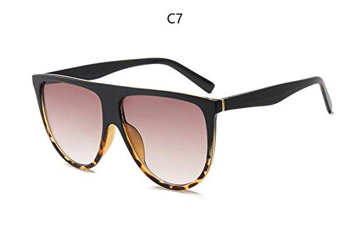 SUNNYBQM Sonnenbrillen Sonnenbrille Frau Vintage Retro-Flat-Top Thin Shadow Sonnenbrille Platz Pilot Großen Schwarzen Farbtönen