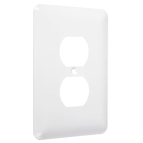 Hubbell-Bell WMW-D Maxi Metallic Wallplate with One Duplex, Single Gang, White Smooth by Hubbell Bell