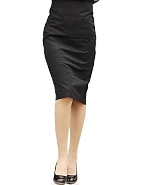 bodycon vendimia inelásticas faldas hasta la rodilla medias de las mujeres (mezclas de algodón) , xl