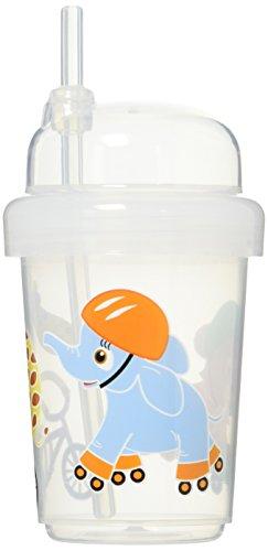 nuspin kids Zoomi - Taza con pajita, 240 ml, animales de safari