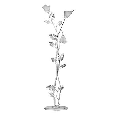 ONLI – Piantana / lampada da terra Marilena 3 luci in metallo bianco spennellato argento. Paralumi in vetro bianco. Prodotto lavorato a mano in Italia. 50cm x h 180cm