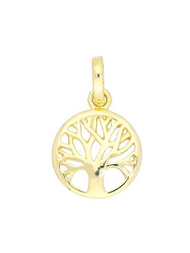 MyGold Lebensbaum Anhänger (Ohne Kette) Gelbgold 375 Gold (9 Karat) Massiv Ø 10 mm Mini Baum Kettenanhänger Goldanhänger Geschenke Für Frauen Mädchen Botany Small A-07807-G601 (Halskette Baum Kleine Mädchen)