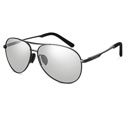 Amcer Klassische Aviator-Sonnenbrille, polarisiert, 100% UV-Schutz, intelligenter Farbwechsel, Mode-Metallrahmen UV400 Ultra Light Lens für den Einsatz bei Tag und Nacht Black - Gradient Gray Lens