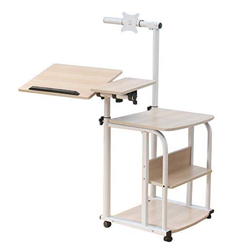 Laptopständer DD Laptop-Tisch höhenverstellbar, Sofa-Beistelltisch, mit Rollen für Notebooks mit Tablett für Maus Hochglanz lackiert, Rutschfest, Werkbank (größe : Holzfarbe)