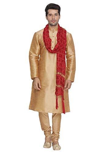 b5b4a731062fb2 VASTRAMAY Men Gold Cotton Silk Kurta Pyjama and Dupatta Set  (VASMKRG001nPRGnD5MA 40)