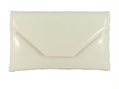 Stilvolle großen Umschlag Patent Clutch Bag/Schultertasche Hochzeit Party Prom-Tasche In weiß (White Faux Leder Patent)